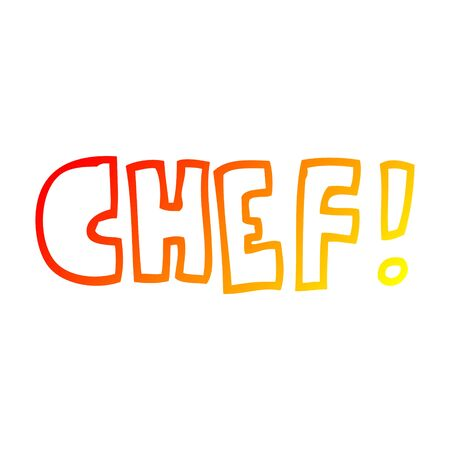 warm gradient line drawing of a cartoon word chef