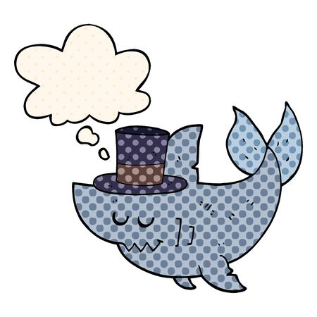 cartoon shark wearing top hat with thought bubble in comic book style