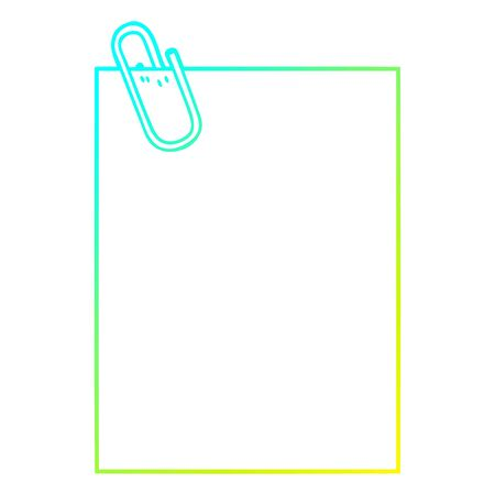 cold gradient line drawing of a cartoon paper with paperclip