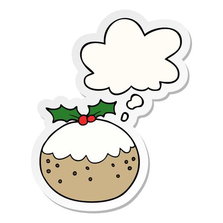 cartoon christmas pudding with thought bubble as a printed sticker Иллюстрация