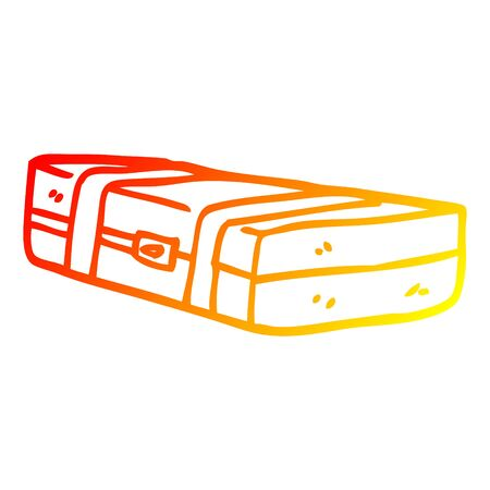 warm gradient line drawing of a cartoon suit case Illustration