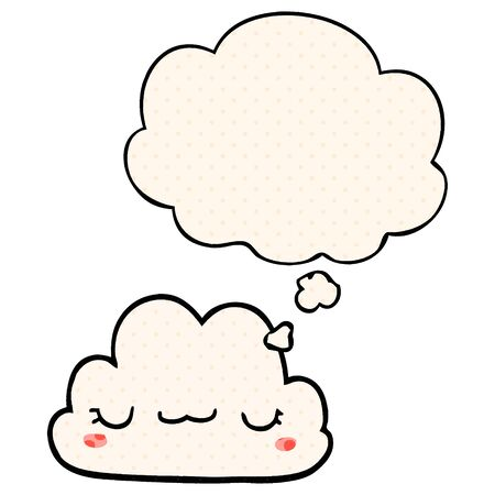 cute cartoon cloud with thought bubble in comic book style Ilustracja