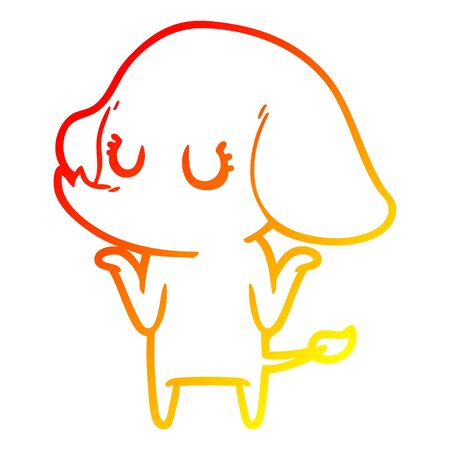 warm gradient line drawing of a cute elephant shrugging shoulders