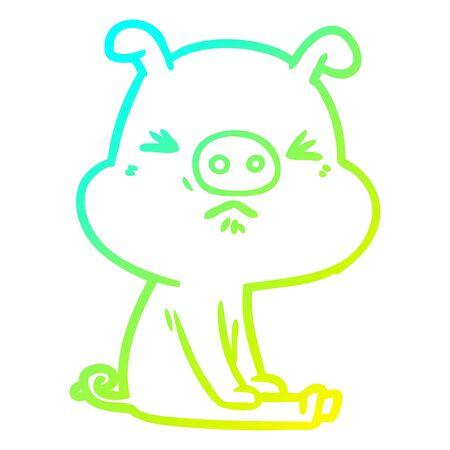 cold gradient line drawing of a cartoon angry pig sat waiting