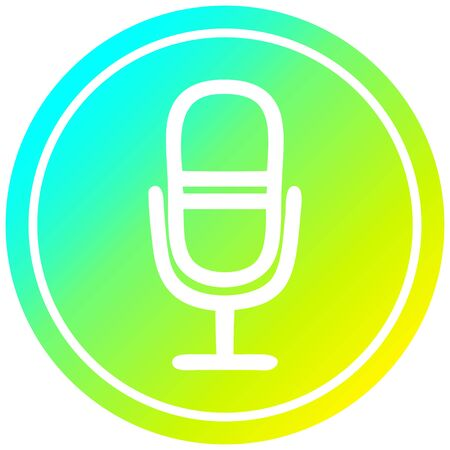 microphone recording circular icon with cool gradient finish