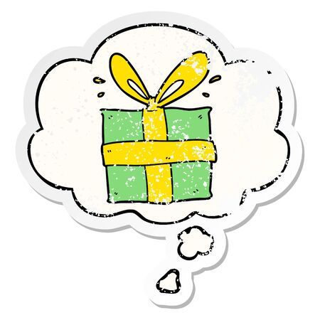 cartoon wrapped gift with thought bubble as a distressed worn sticker Stock Illustratie