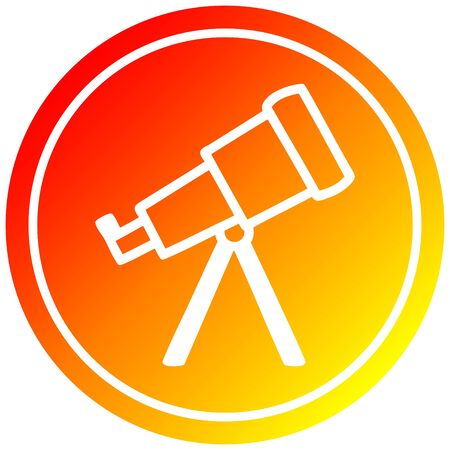 astronomy telescope circular icon with warm gradient finish