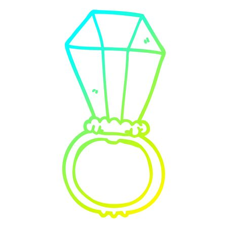 cold gradient line drawing of a cartoon engagement ring