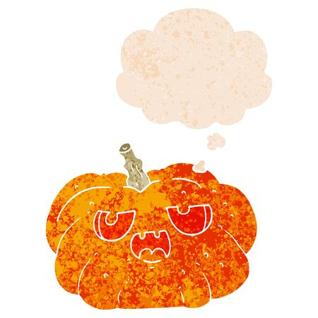 cartoon pumpkin with thought bubble in grunge distressed retro textured style 일러스트