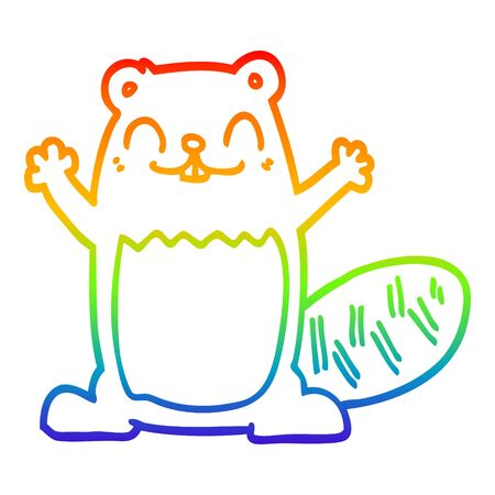 rainbow gradient line drawing of a cartoon beaver Ilustracja