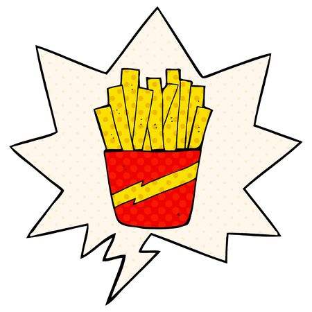cartoon box of fries with speech bubble in comic book style