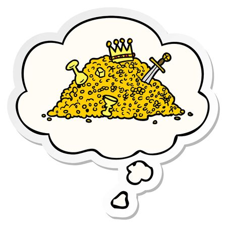 cartoon pile of treasure with thought bubble as a printed sticker Ilustração