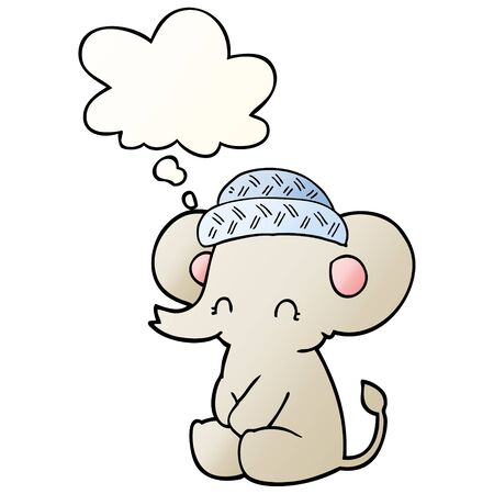 cartoon cute elephant with thought bubble in smooth gradient style Stock Illustratie