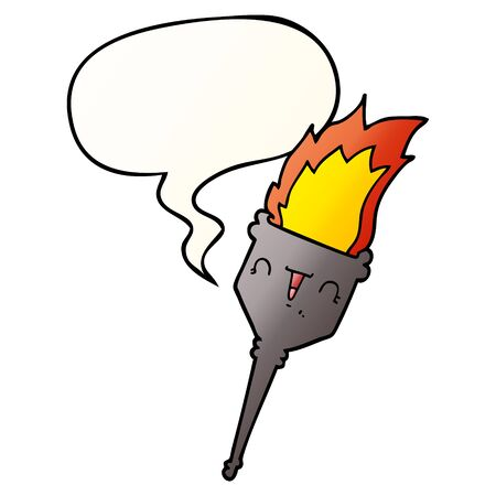 cartoon flaming chalice with speech bubble in smooth gradient style Vettoriali