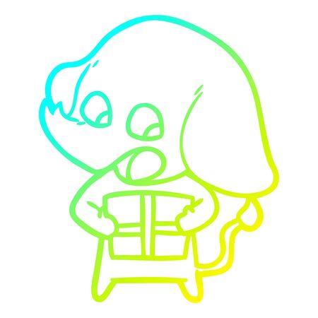 cold gradient line drawing of a cute cartoon elephant with christmas present Stock Illustratie