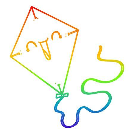 rainbow gradient line drawing of a cartoon kite Ilustração