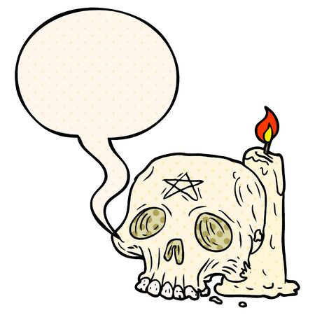 cartoon spooky skull and candle with speech bubble in comic book style 向量圖像