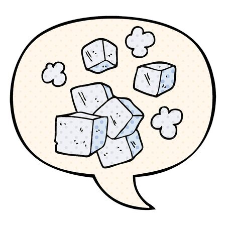 cartoon ice cubes with speech bubble in comic book style Ilustração
