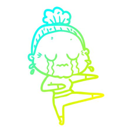 cold gradient line drawing of a cartoon old dancer woman crying Illustration
