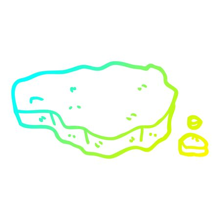 cold gradient line drawing of a cartoon old rock