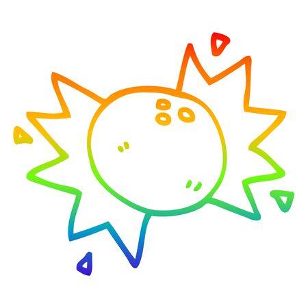 rainbow gradient line drawing of a cartoon striking bowling ball