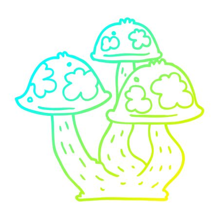 cold gradient line drawing of a cartoon mushrooms