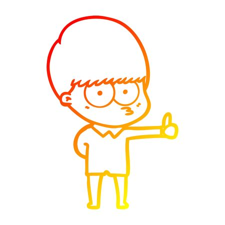 warm gradient line drawing of a curious cartoon boy giving thumbs up sign