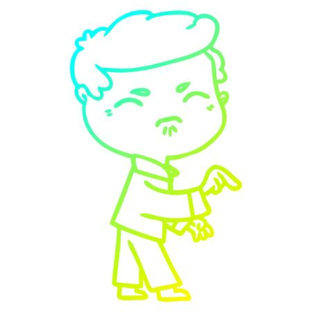 cold gradient line drawing of a cartoon annoyed man pointing finger