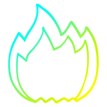 cold gradient line drawing of a cartoon open flame