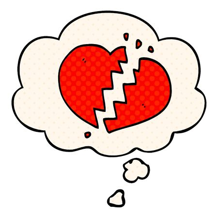 cartoon broken heart with thought bubble in comic book style