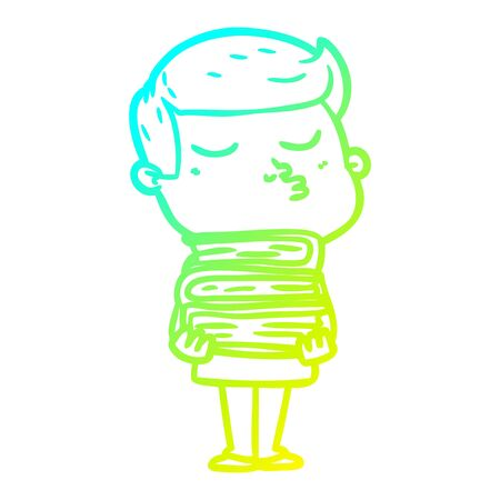 cold gradient line drawing of a cartoon model guy pouting holding books