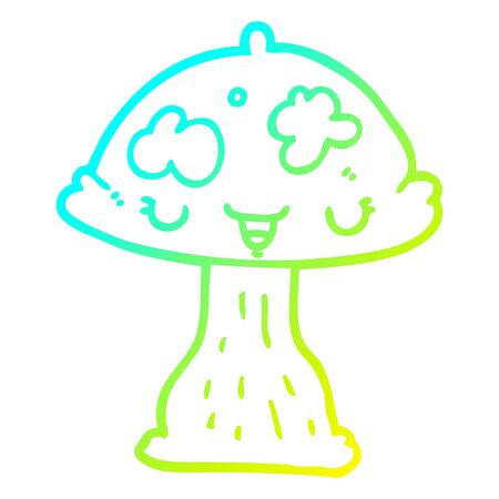 cold gradient line drawing of a cartoon toadstool