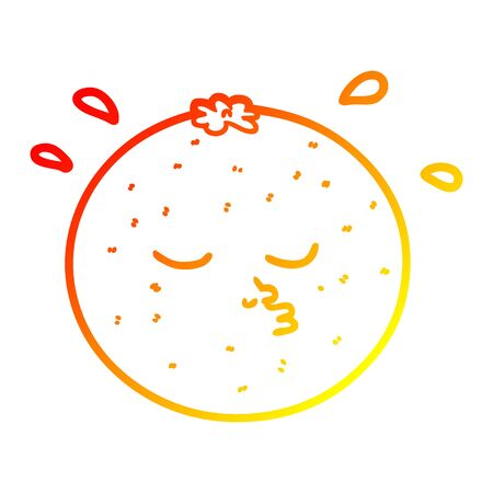 warm gradient line drawing of a cartoon orange with face