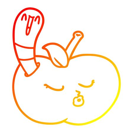 warm gradient line drawing of a cartoon worm in apple Ilustracja