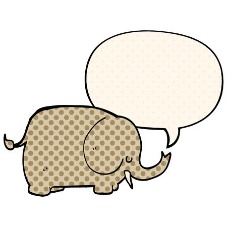 cartoon elephant with speech bubble in comic book style