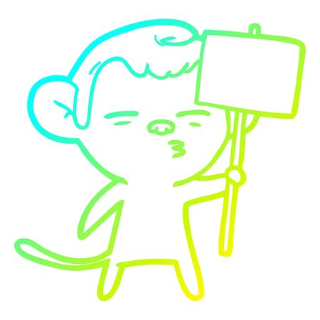 cold gradient line drawing of a cartoon suspicious monkey with signpost