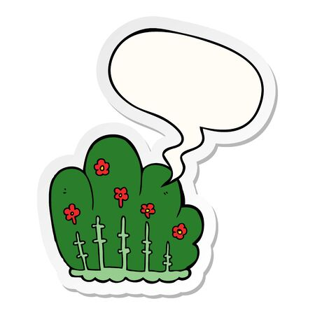 cartoon hedge with speech bubble sticker Illustration