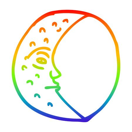 rainbow gradient line drawing of a cartoon crescent moon with face Illusztráció