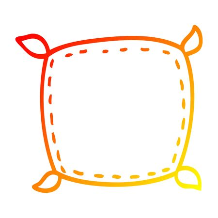 warm gradient line drawing of a cartoon plain cushion