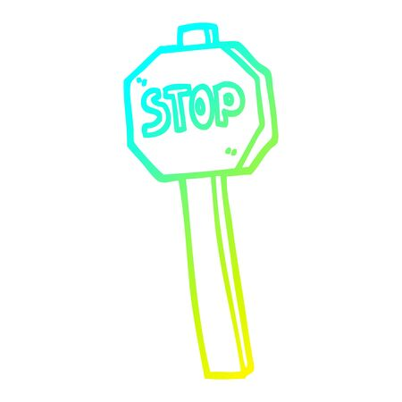 cold gradient line drawing of a cartoon stop sign