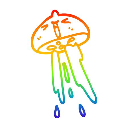 rainbow gradient line drawing of a cartoon squirting lemon