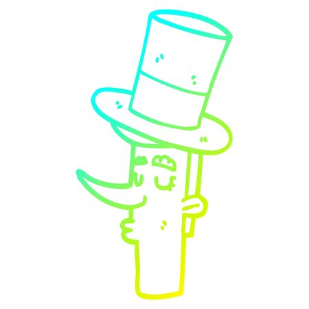 cold gradient line drawing of a cartoon man wearing top hat  イラスト・ベクター素材