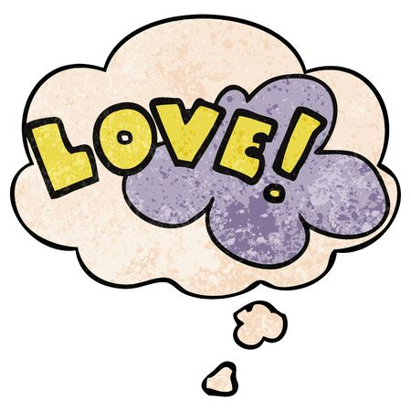 cartoon word love with thought bubble in grunge texture style Stok Fotoğraf - 129504520