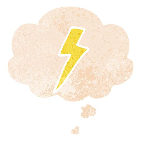 cartoon lightning bolt with thought bubble in grunge distressed retro textured style
