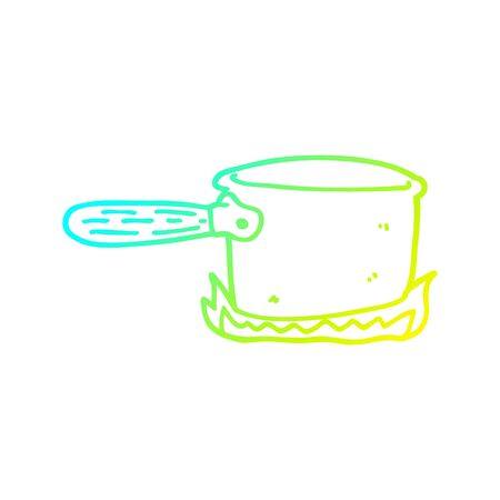 cold gradient line drawing of a cartoon cooking pan