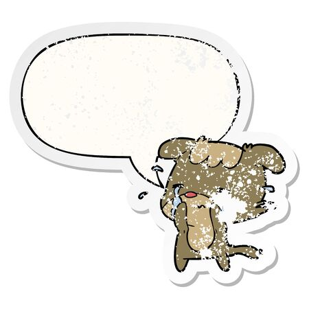 cartoon sad dog crying with speech bubble distressed distressed old sticker