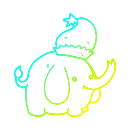 cold gradient line drawing of a cute cartoon christmas elephant
