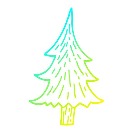 cold gradient line drawing of a cartoon pine trees
