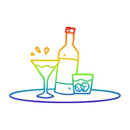 rainbow gradient line drawing of a cartoon drinks on tray