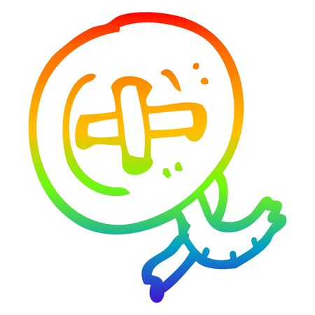 rainbow gradient line drawing of a cartoon button Illustration